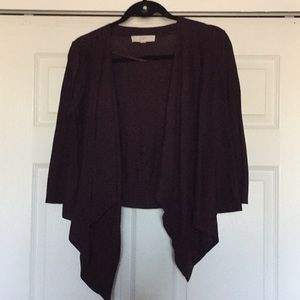 Medium Loft Burgundy Draped Front Cardigan